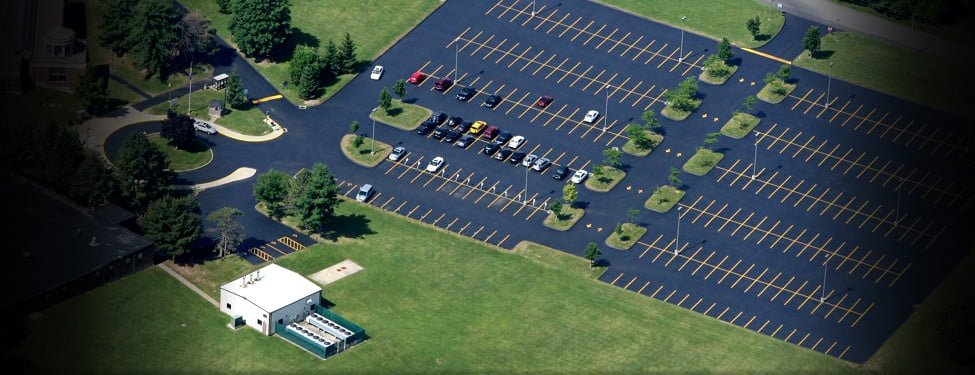 Sealcoating aerial photo, Middlesex Community College, Middletown CT
