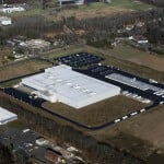 Aerial View of a major sealcoat rejuvenation at Burris Logistics, Rocky Hill CT 2013