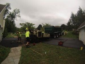 hot asphalt driveway paving process