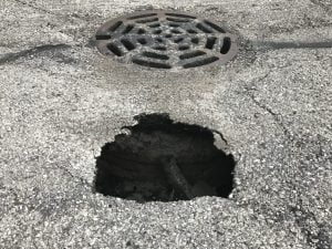 sinkhole near catch basin